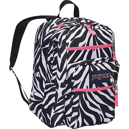 120c6fecdf Jansport Big Student Pack Backpack - Black White Fluorscent Pink Miss ...