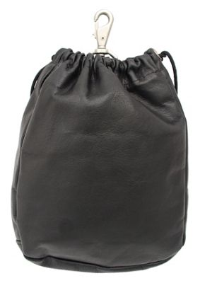 Piel Large Drawstring Pouch - Black