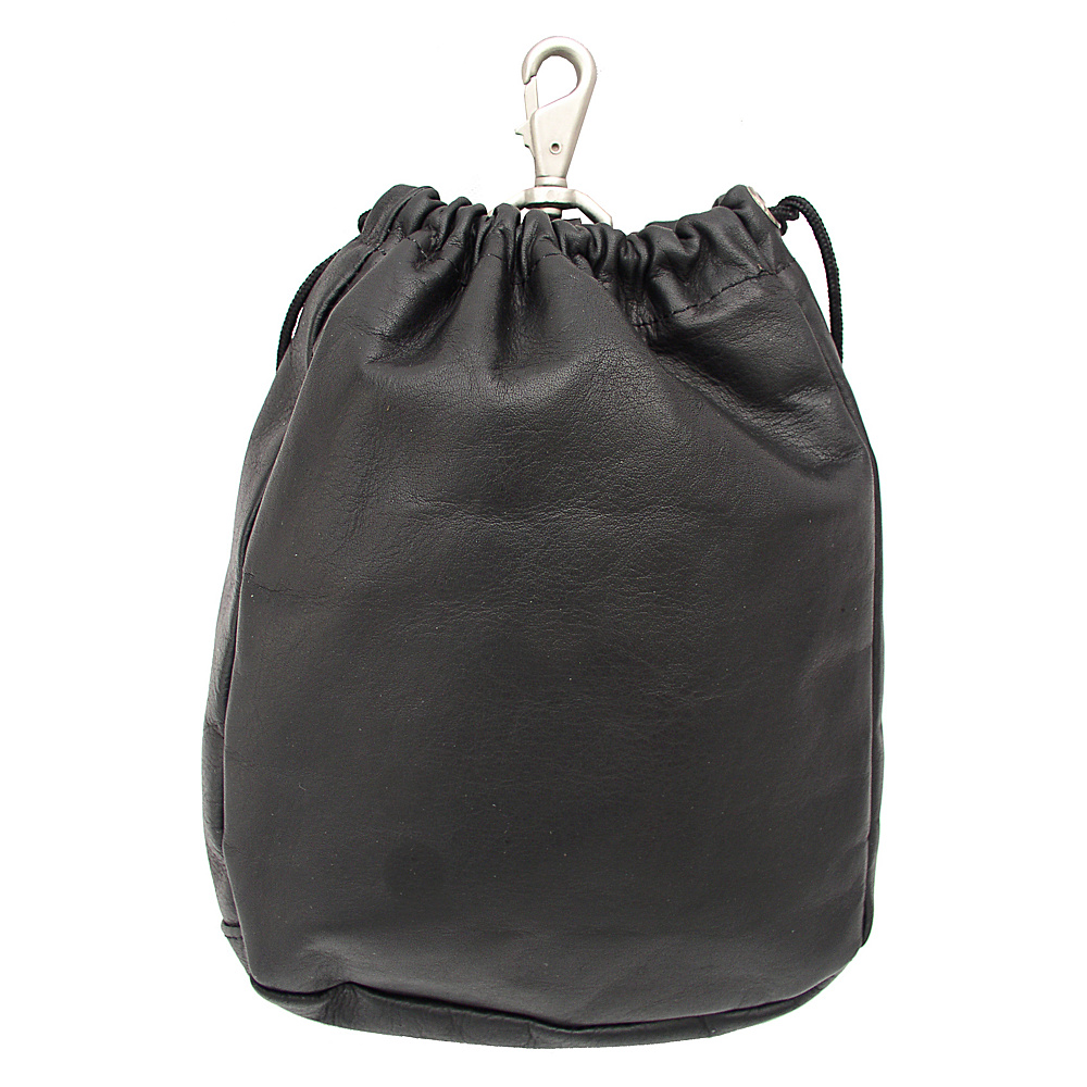 Piel Large Drawstring Pouch - Black - Travel Accessories, Travel Organizers