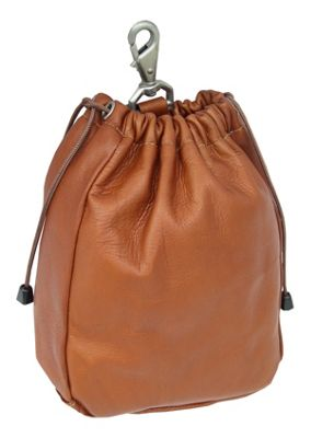 Piel Large Drawstring Pouch - Saddle