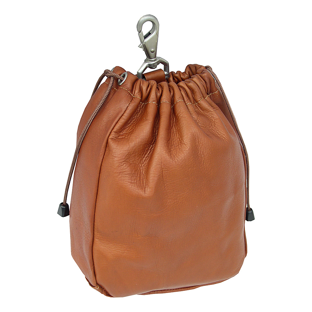 Piel Large Drawstring Pouch - Saddle - Travel Accessories, Travel Organizers