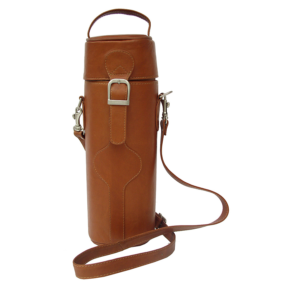 Piel Single Deluxe Wine Tote Carrier - Saddle