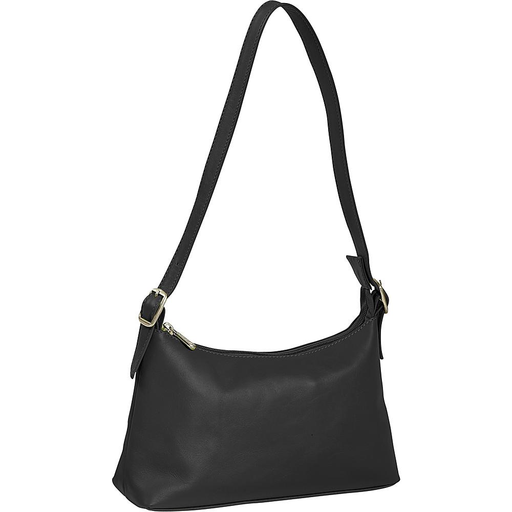 Piel Top Zip Mini Shoulder Bag - Black - Handbags, Leather Handbags