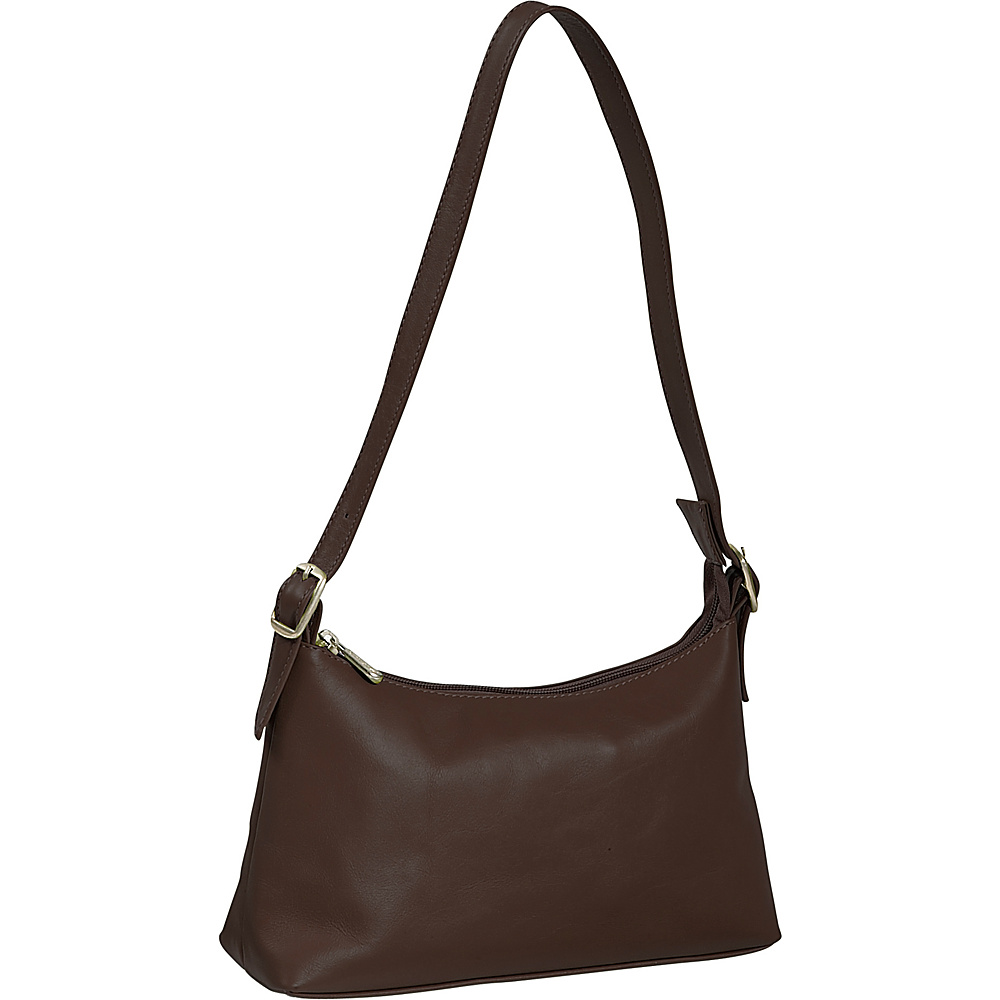 Piel Top Zip Mini Shoulder Bag - Chocolate - Handbags, Leather Handbags