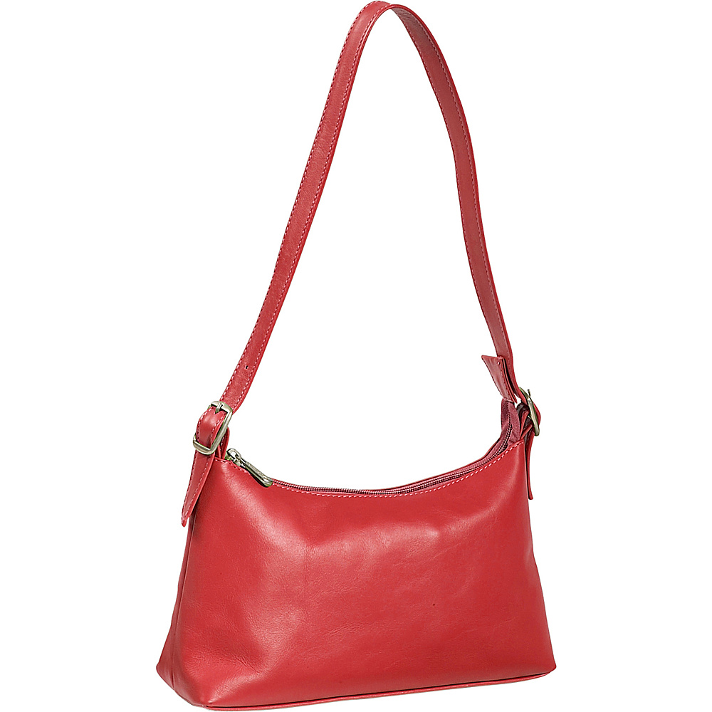 Piel Top Zip Mini Shoulder Bag - Red - Handbags, Leather Handbags