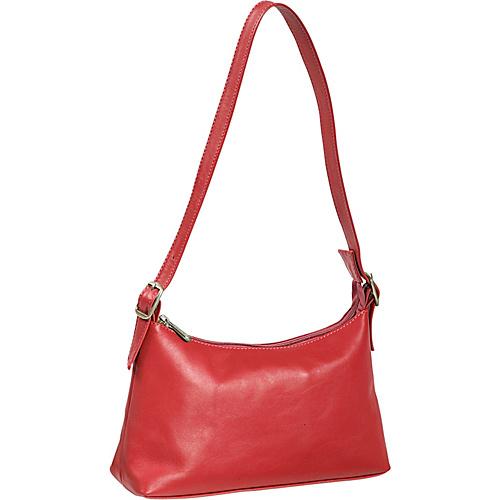 Piel Top Zip Mini Shoulder Bag - Red