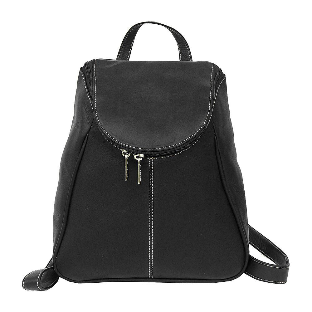 Piel U-Zip Flap Backpack - Black - Handbags, Leather Handbags