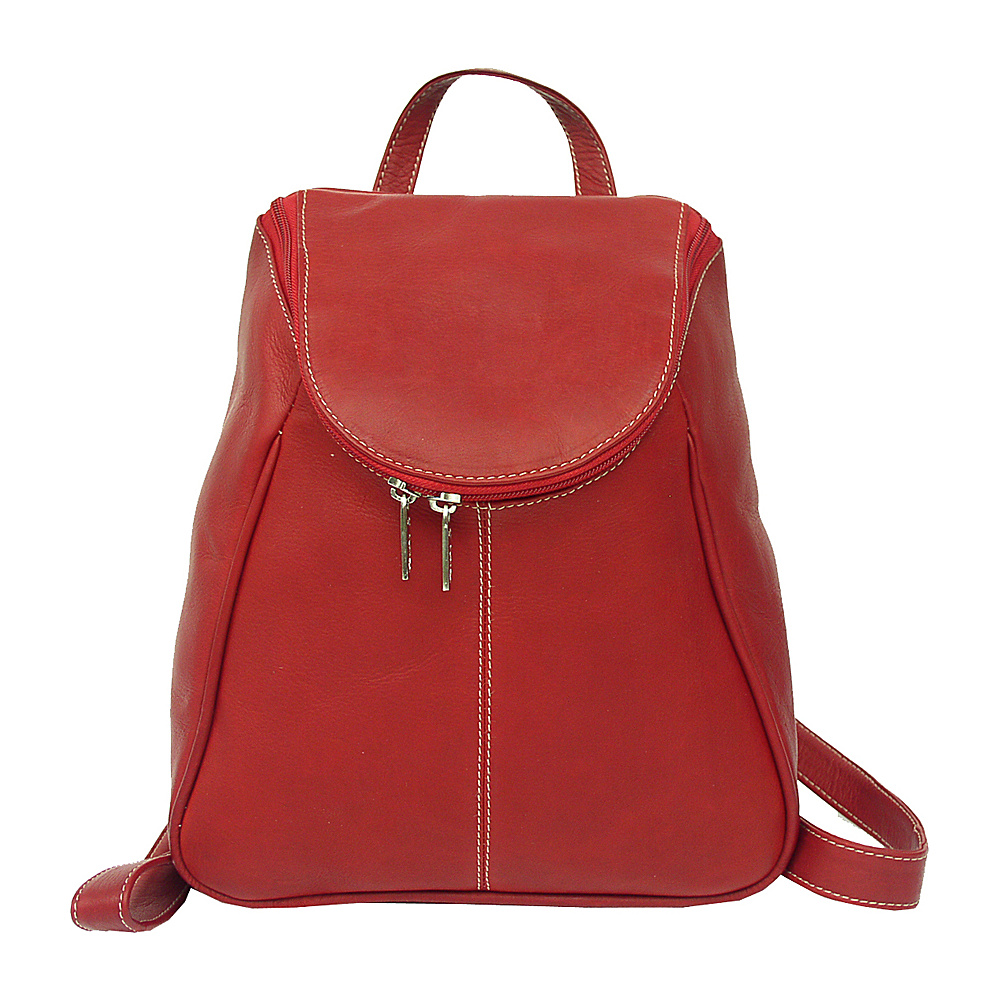 Piel U-Zip Flap Backpack - Red - Handbags, Leather Handbags