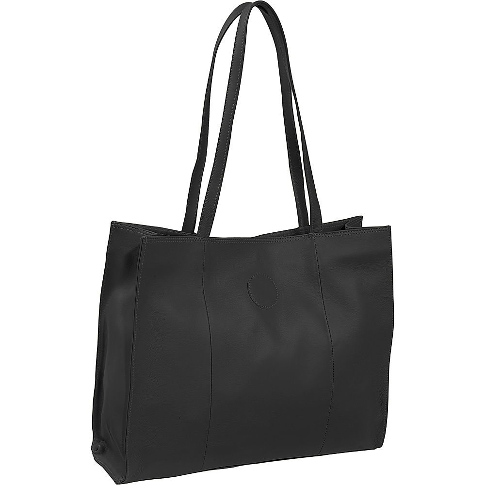 Piel Carry-All Market Bag - Black - Handbags, Leather Handbags