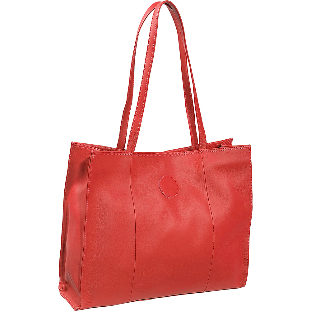 Piel Carry-All Market Bag - Red - Handbags, Leather Handbags