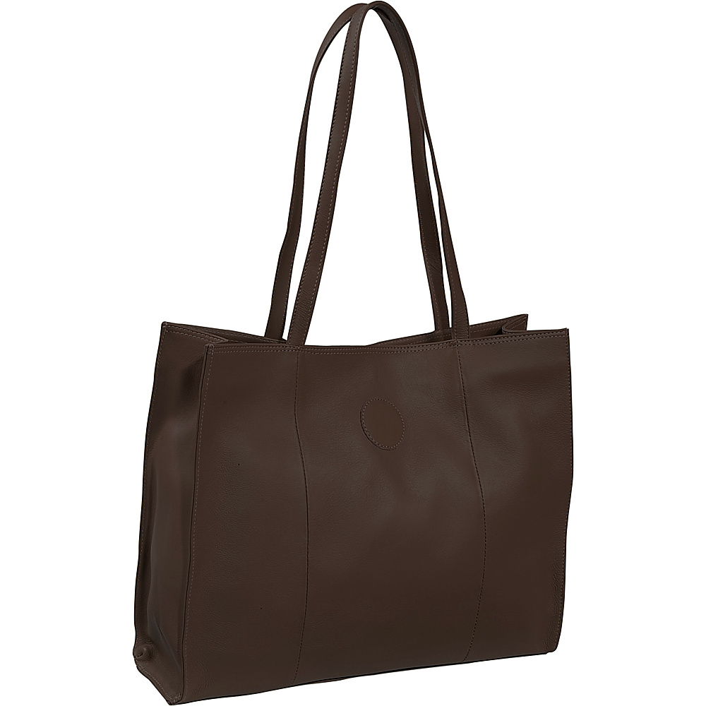 Piel Carry-All Market Bag - Chocolate - Handbags, Leather Handbags