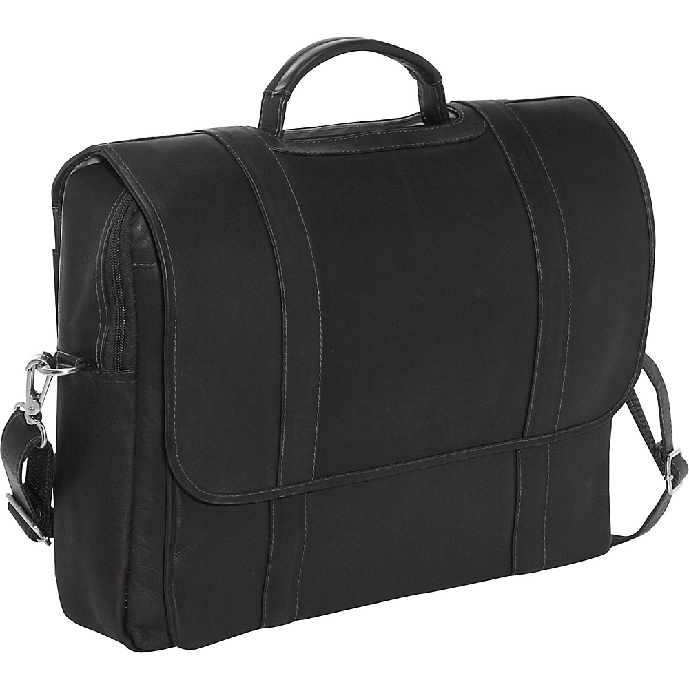 Piel Traditional Flap Laptop Portfolio - Black - Work Bags & Briefcases, Non-Wheeled Business Cases