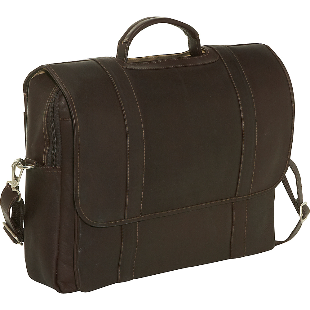 Piel Traditional Flap Laptop Portfolio - Chocolate - Work Bags & Briefcases, Non-Wheeled Business Cases