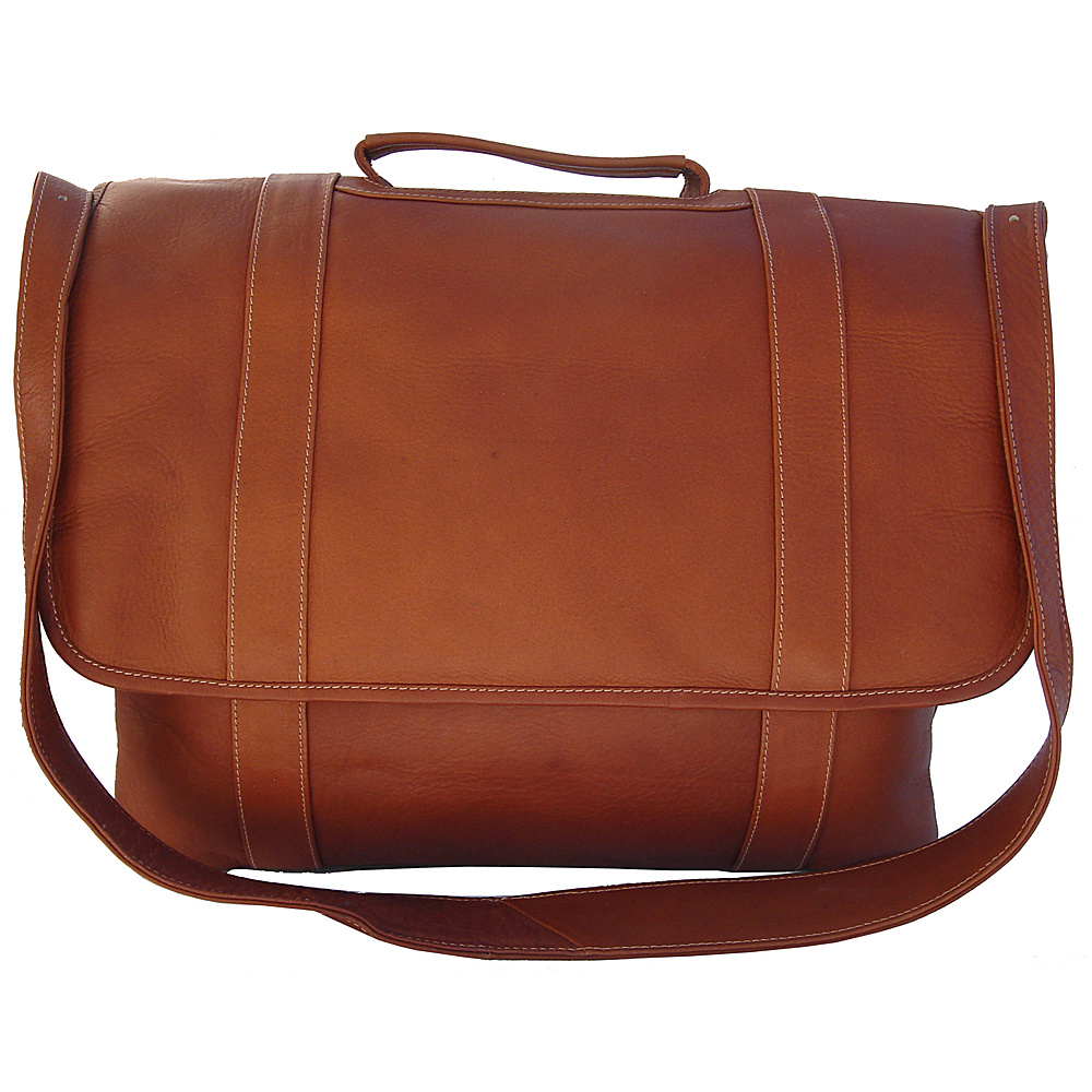 Piel Traditional Flap Laptop Portfolio - Saddle - Work Bags & Briefcases, Non-Wheeled Business Cases