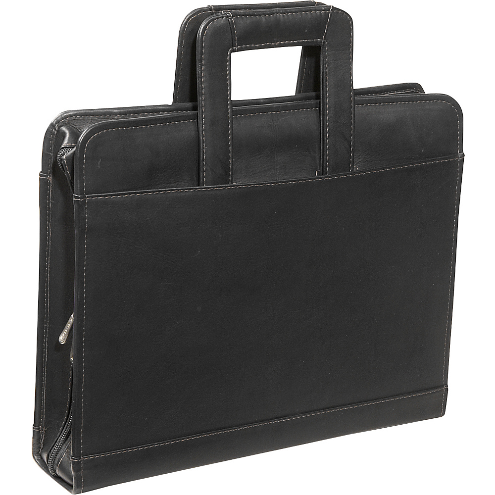 Piel Three-Ring Binder wtih Handle - Black - Work Bags & Briefcases, Business Accessories