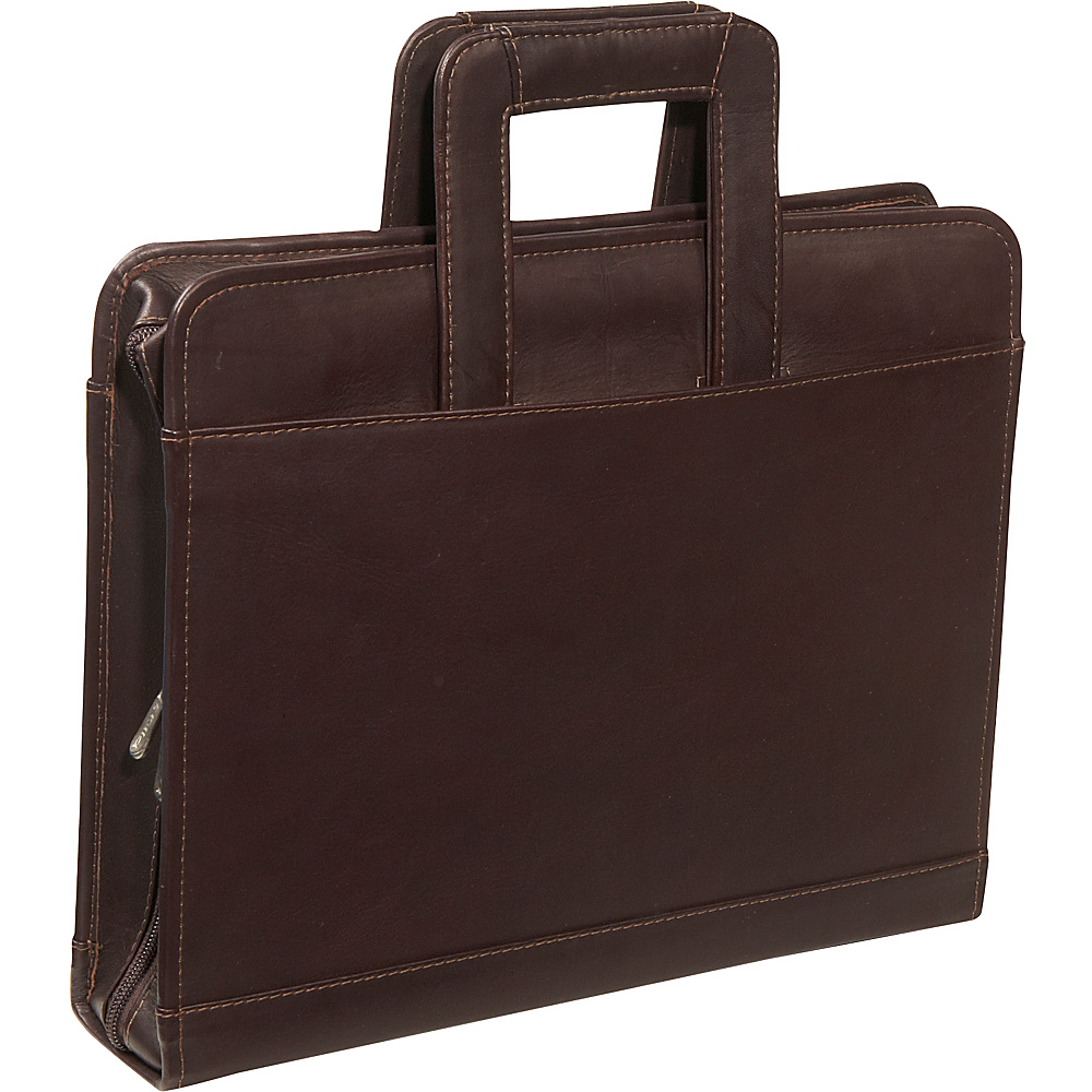 Piel Three-Ring Binder wtih Handle - Chocolate - Work Bags & Briefcases, Business Accessories