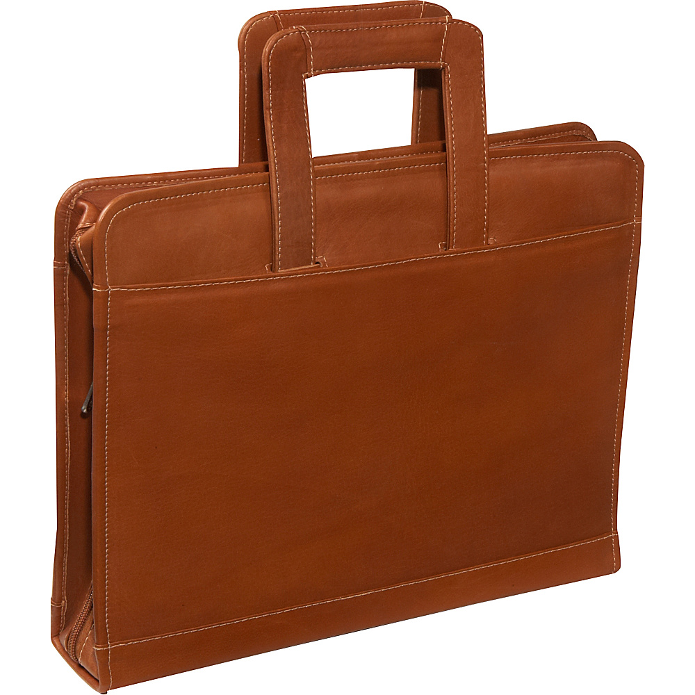 Piel Three-Ring Binder wtih Handle - Saddle - Work Bags & Briefcases, Business Accessories
