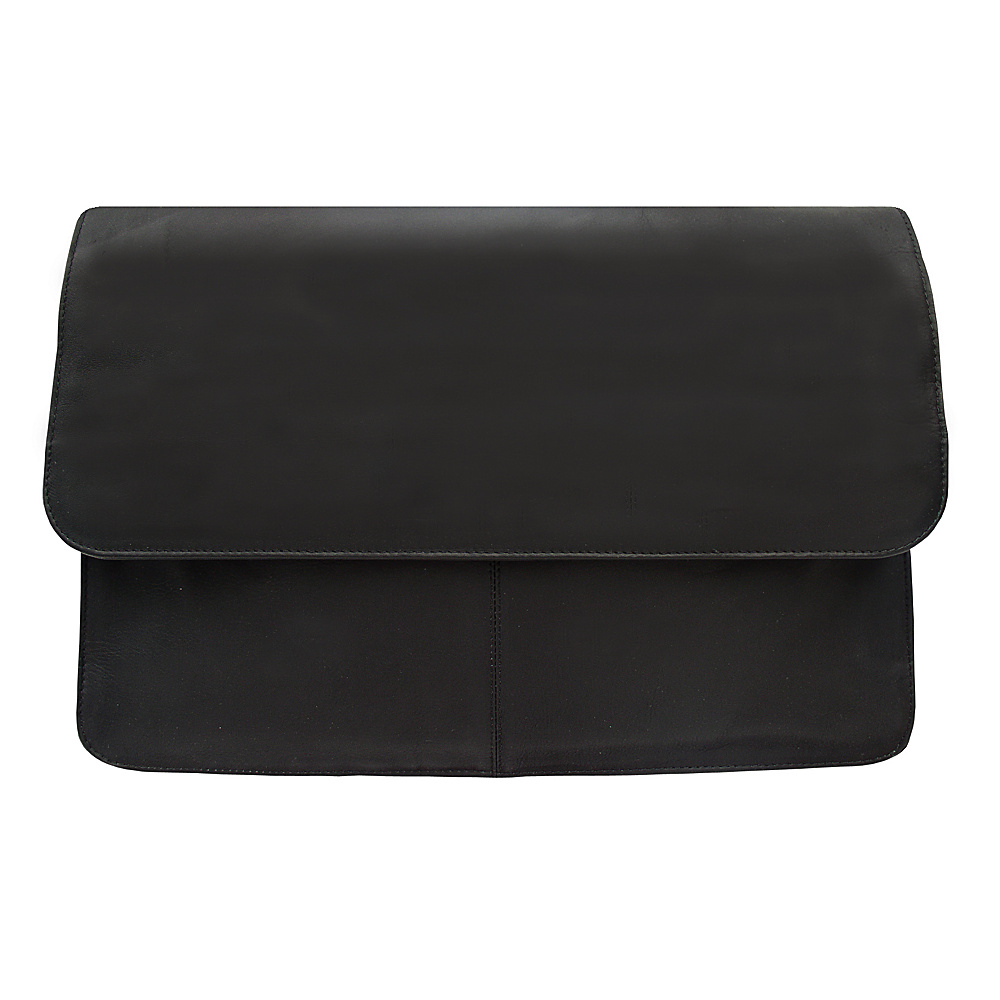Piel Three-Section Flap Portfolio - Black - Work Bags & Briefcases, Business Accessories