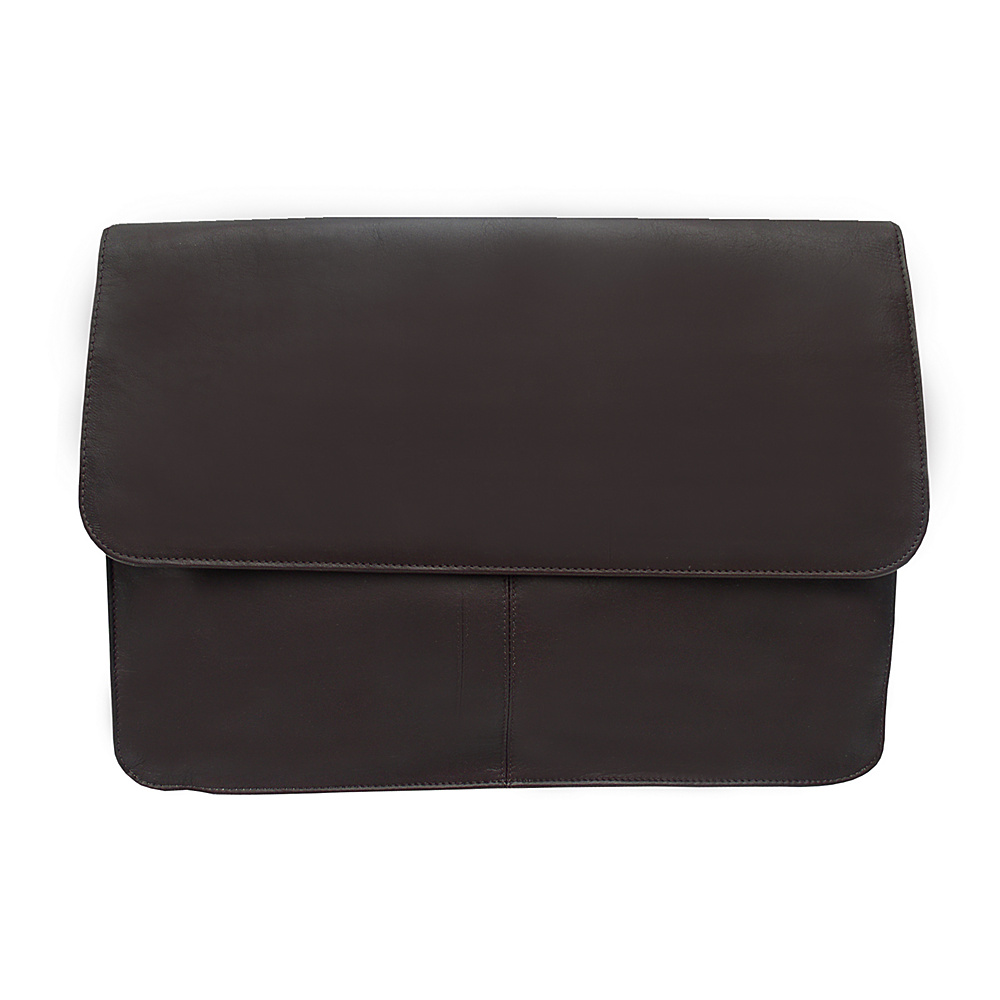 Piel Three-Section Flap Portfolio - Chocolate - Work Bags & Briefcases, Business Accessories