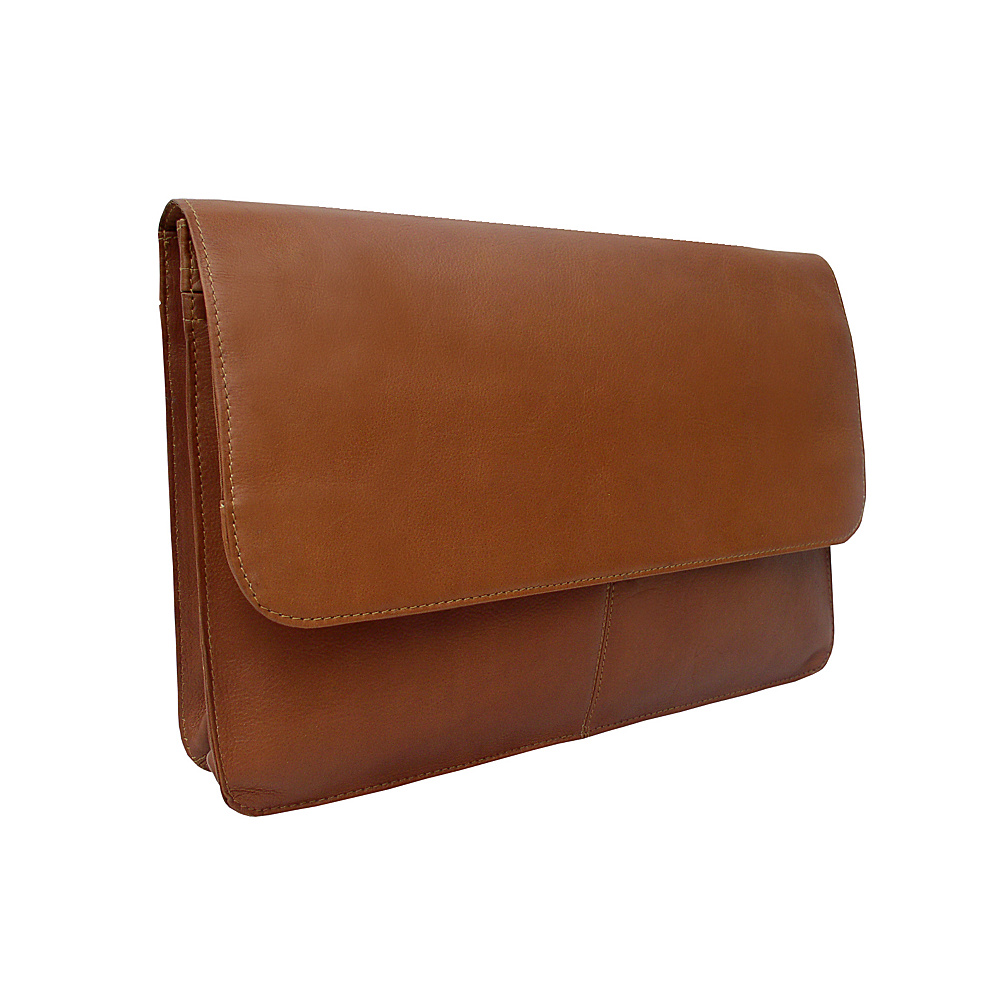 Piel Three-Section Flap Portfolio - Saddle - Work Bags & Briefcases, Business Accessories