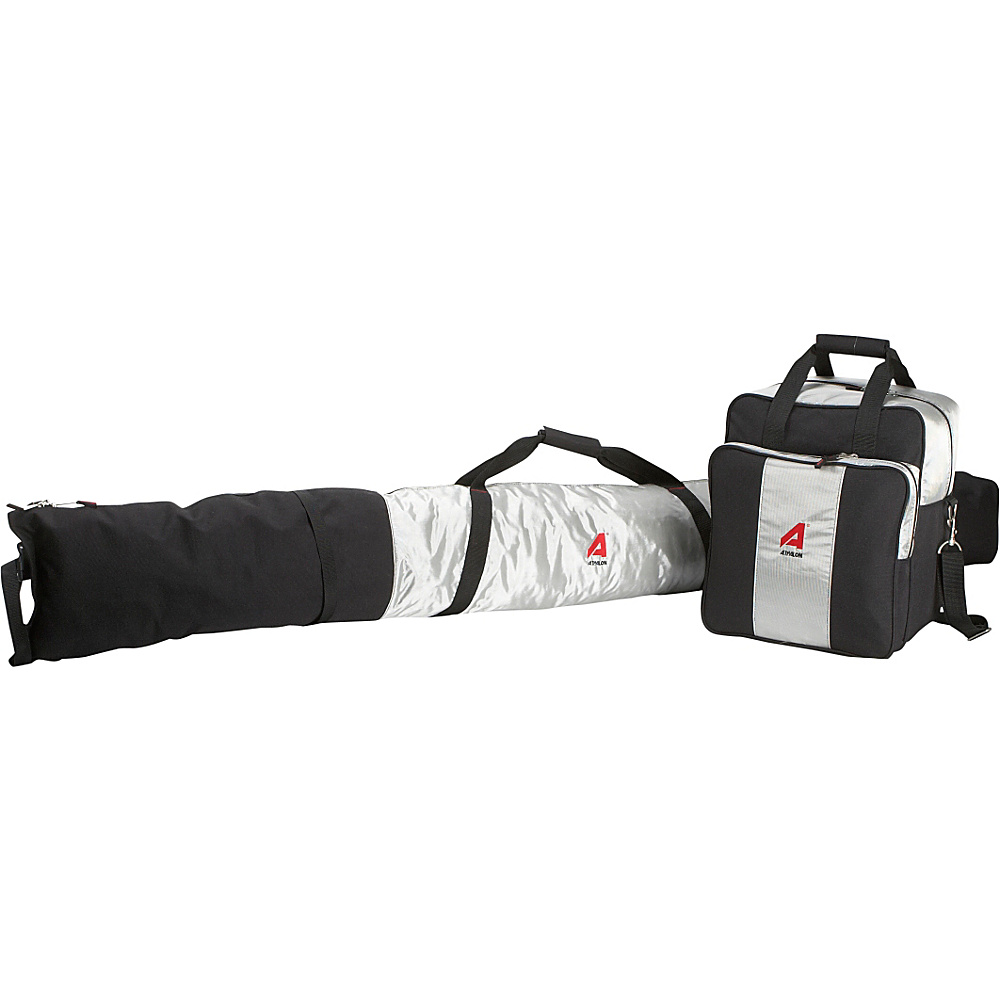 Athalon Deluxe Two-Piece Ski & Boot Bag Combo Silver w/ Black - Athalon Ski and Snowboard Bags