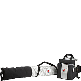 Deluxe Two-Piece Ski & Boot Bag Combo Silver w/ Black