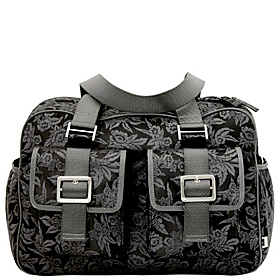 Black Floral Diaper Carry All Black Floral Jacquard Eyelet