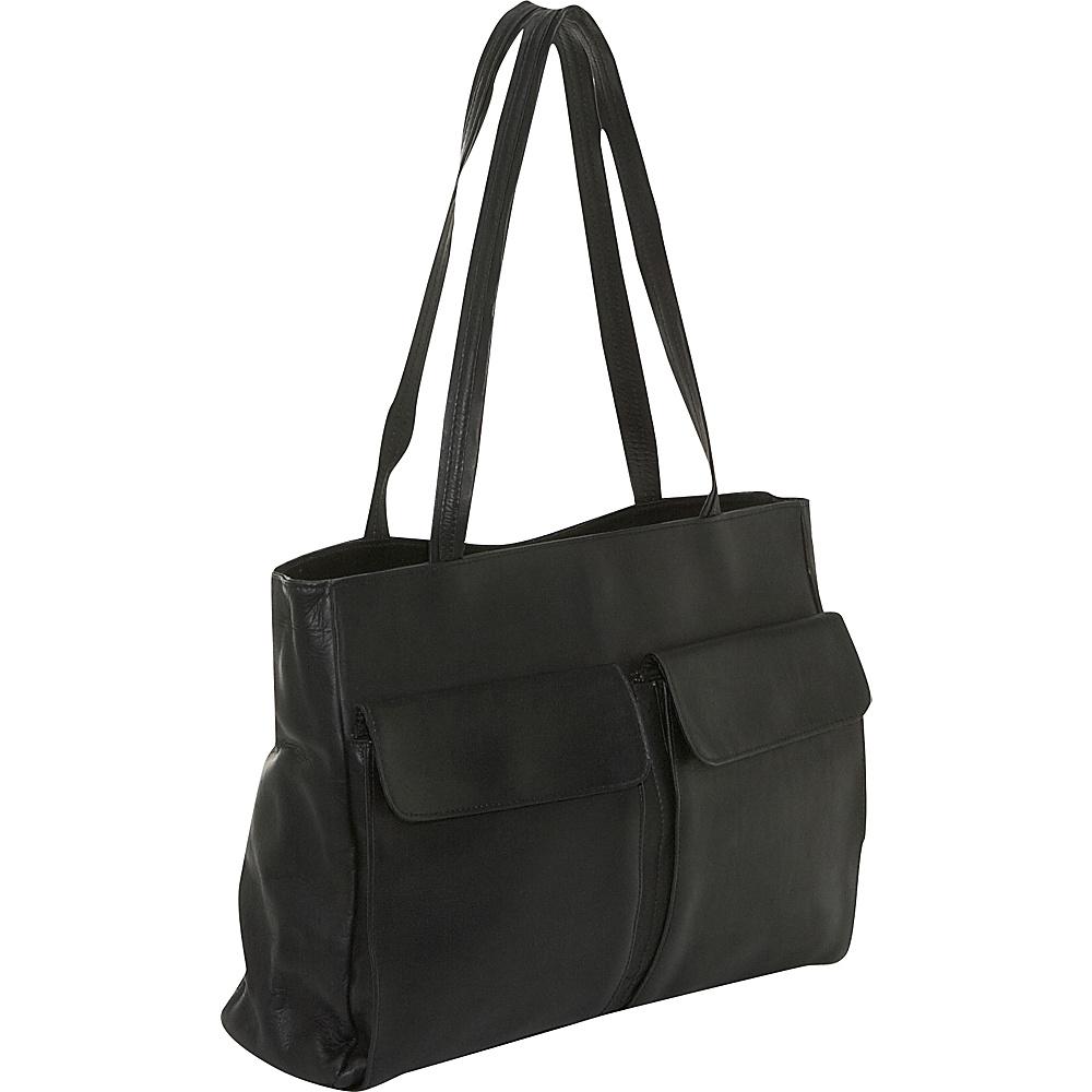 Clava Two Pocket Tote - Vachetta Black - Handbags, Leather Handbags