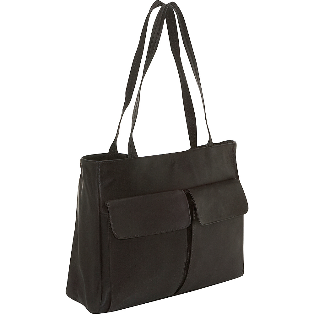 Clava Two Pocket Tote - Vachetta Cafe - Handbags, Leather Handbags