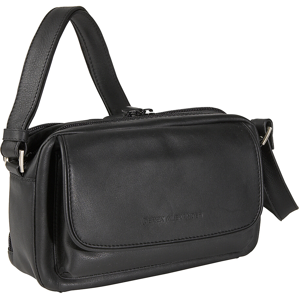 Derek Alexander E/W Double Top Zipper Shoulder Black - Derek Alexander Leather Handbags