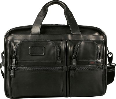 Tumi Alpha Expandable Leather Organizer Computer Brief Black - Tumi Non-Wheeled Computer Cases