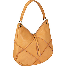 Flash Back Top Angled Zipper Hobo Buff