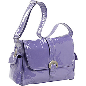 Laminated Buckle Corduroy Diaper Bag Purple