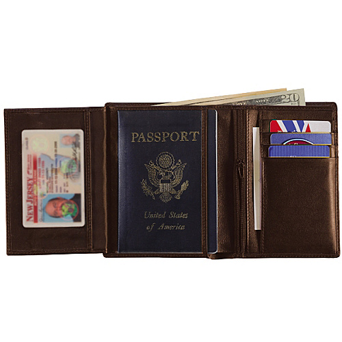 Royce Leather European Passport Wallet - Coco/Coco