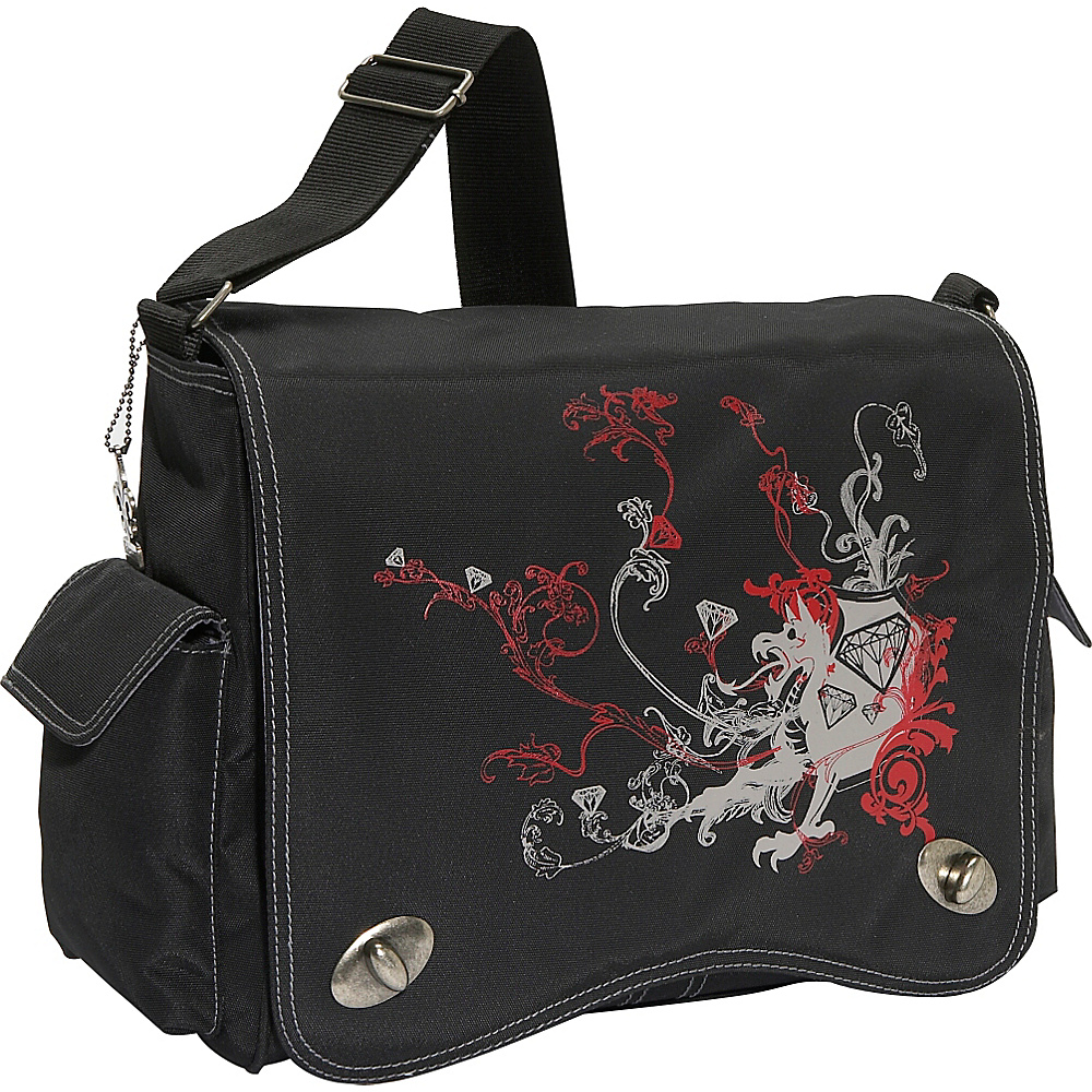 Kalencom Messenger Screened Diaper Bag - Black/Red - Handbags, Diaper Bags & Accessories
