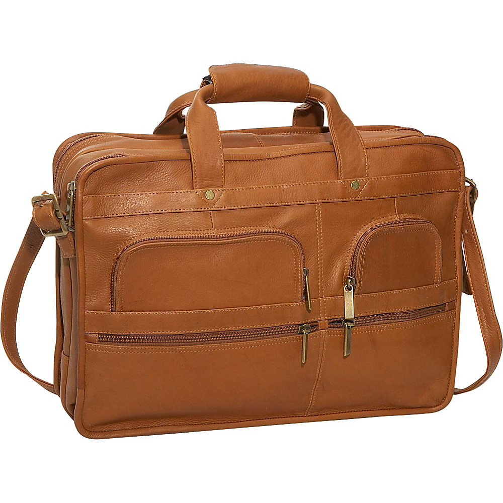 David King & Co. Multi Pocket Organizer Brief - Tan - Work Bags & Briefcases, Non-Wheeled Business Cases