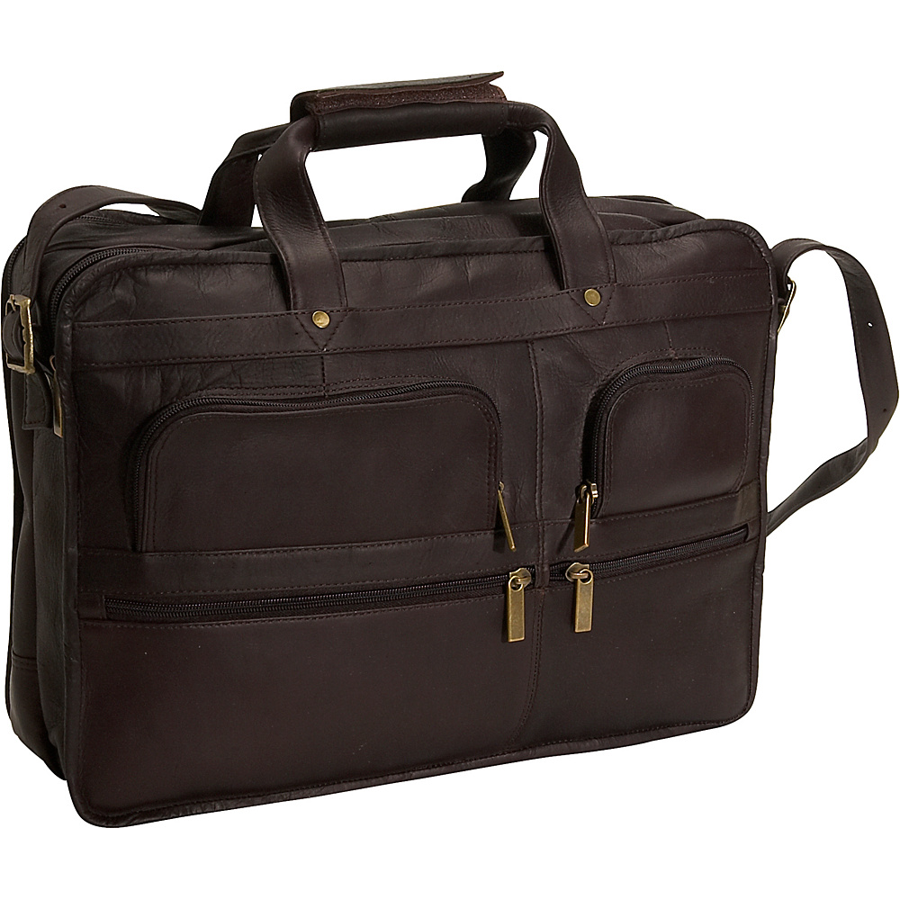 David King & Co. Multi Pocket Organizer Brief - Cafe - Work Bags & Briefcases, Non-Wheeled Business Cases