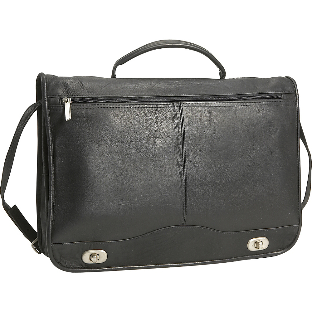 David King & Co. Full Flapover Briefcase - Black - Work Bags & Briefcases, Non-Wheeled Business Cases