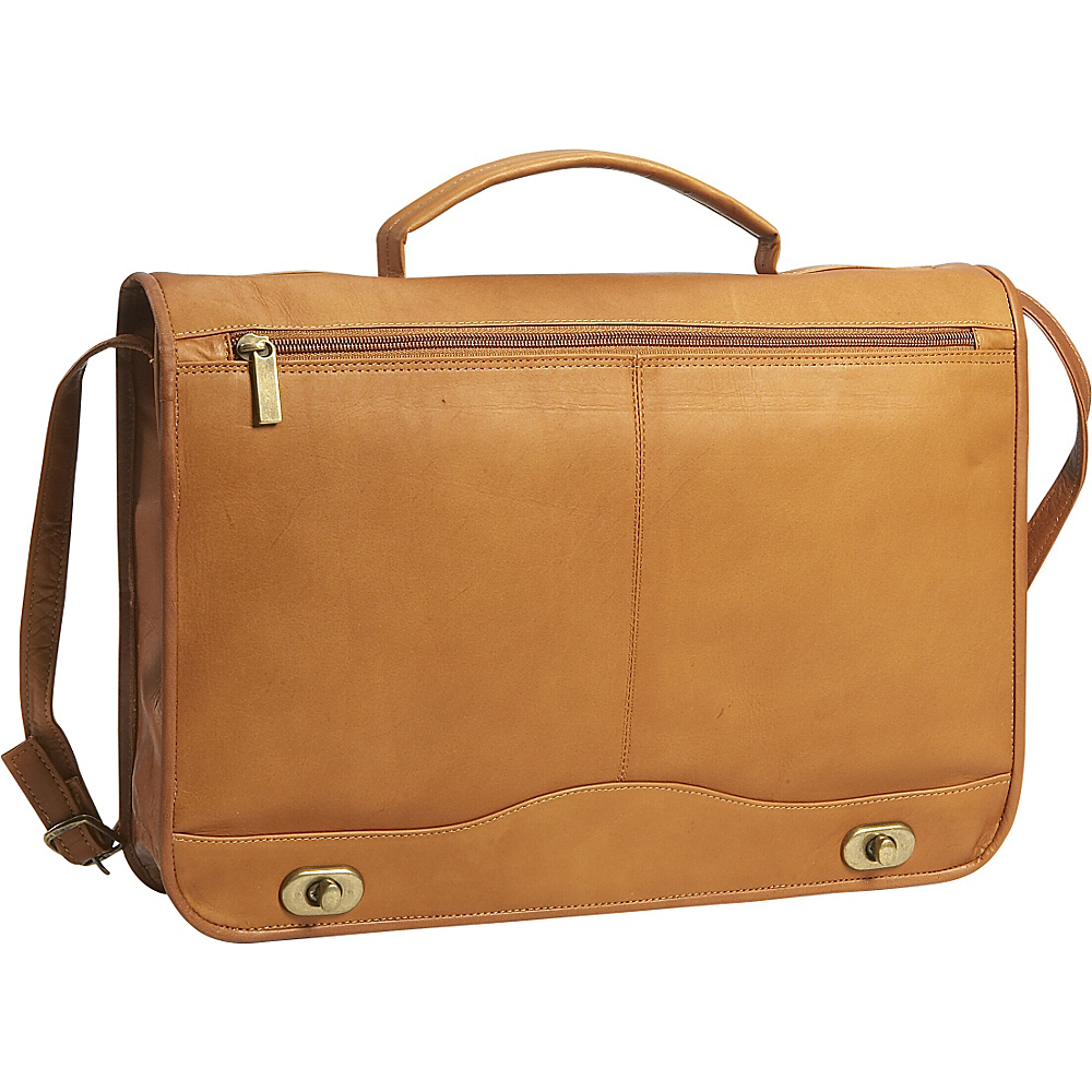 David King & Co. Full Flapover Briefcase Tan - David King & Co. Non-Wheeled Business Cases - Work Bags & Briefcases, Non-Wheeled Business Cases