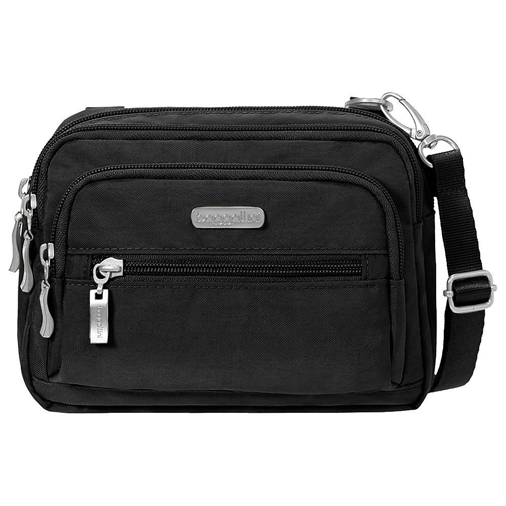 baggallini Triple Zip Crossbody Black/Sand - baggallini Fabric Handbags - Handbags, Fabric Handbags