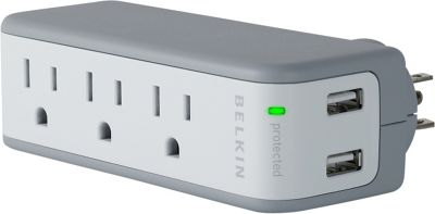 Belkin Mini Surge Protector/Dual USB Charger As Shown - Belkin Electronic Accessories