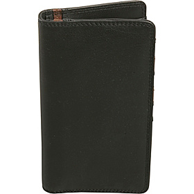 Men's Leather Breast Pocket Wallet Black and Brandy