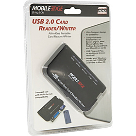 USB 2.0 Card Reader/Writer Black w/Platinum Trim