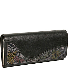 Ladies Large Clutch with Embossing Black