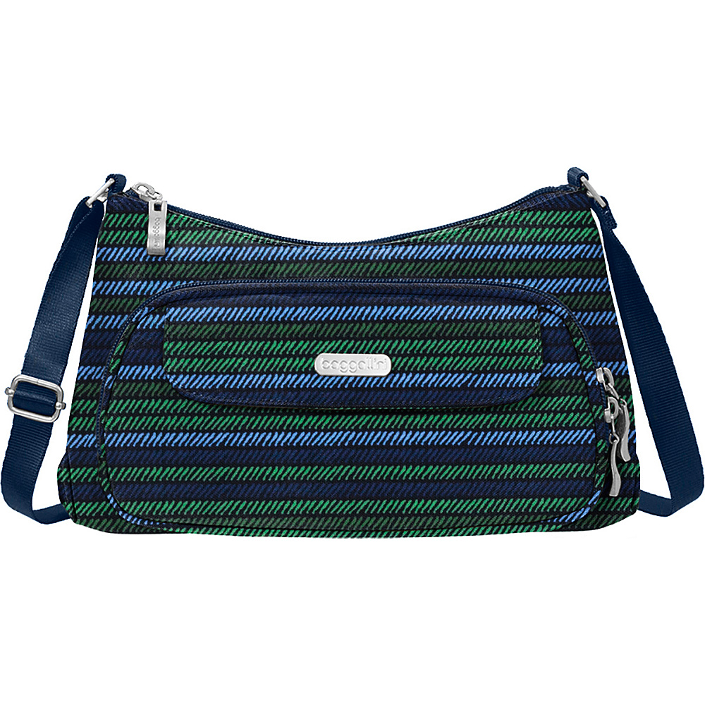 baggallini Everyday Crossbody Moss Stripe - baggallini Fabric Handbags - Handbags, Fabric Handbags