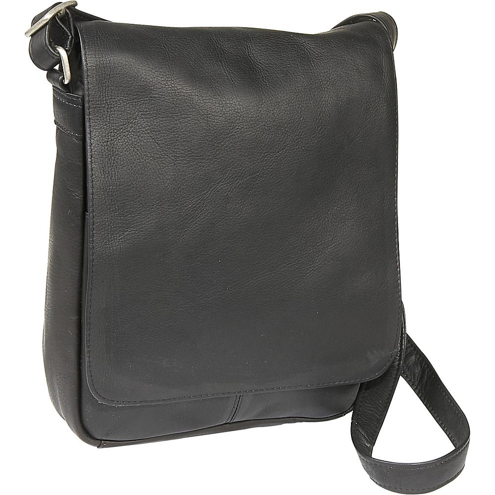 Le Donne Leather Flap Over Shoulder Bag - Black - Handbags, Leather Handbags