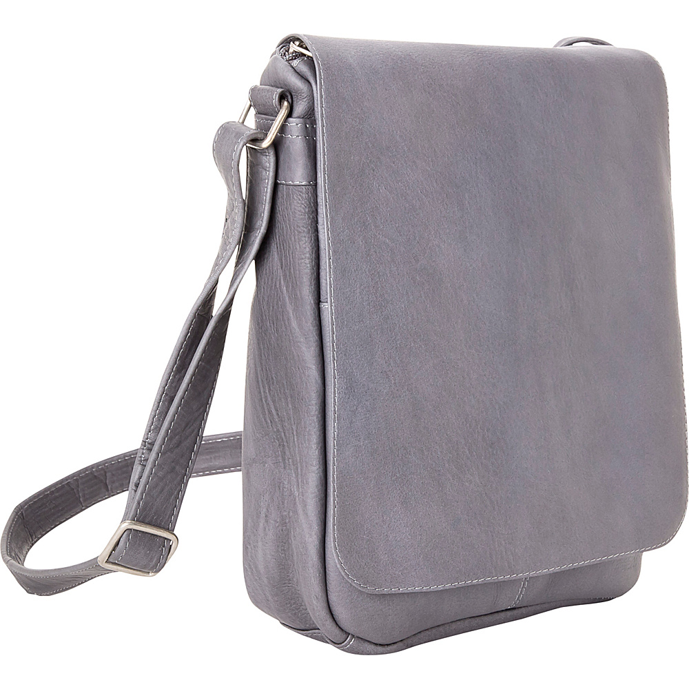 Le Donne Leather Flap Over Shoulder Bag Gray - Le Donne Leather Leather Handbags - Handbags, Leather Handbags