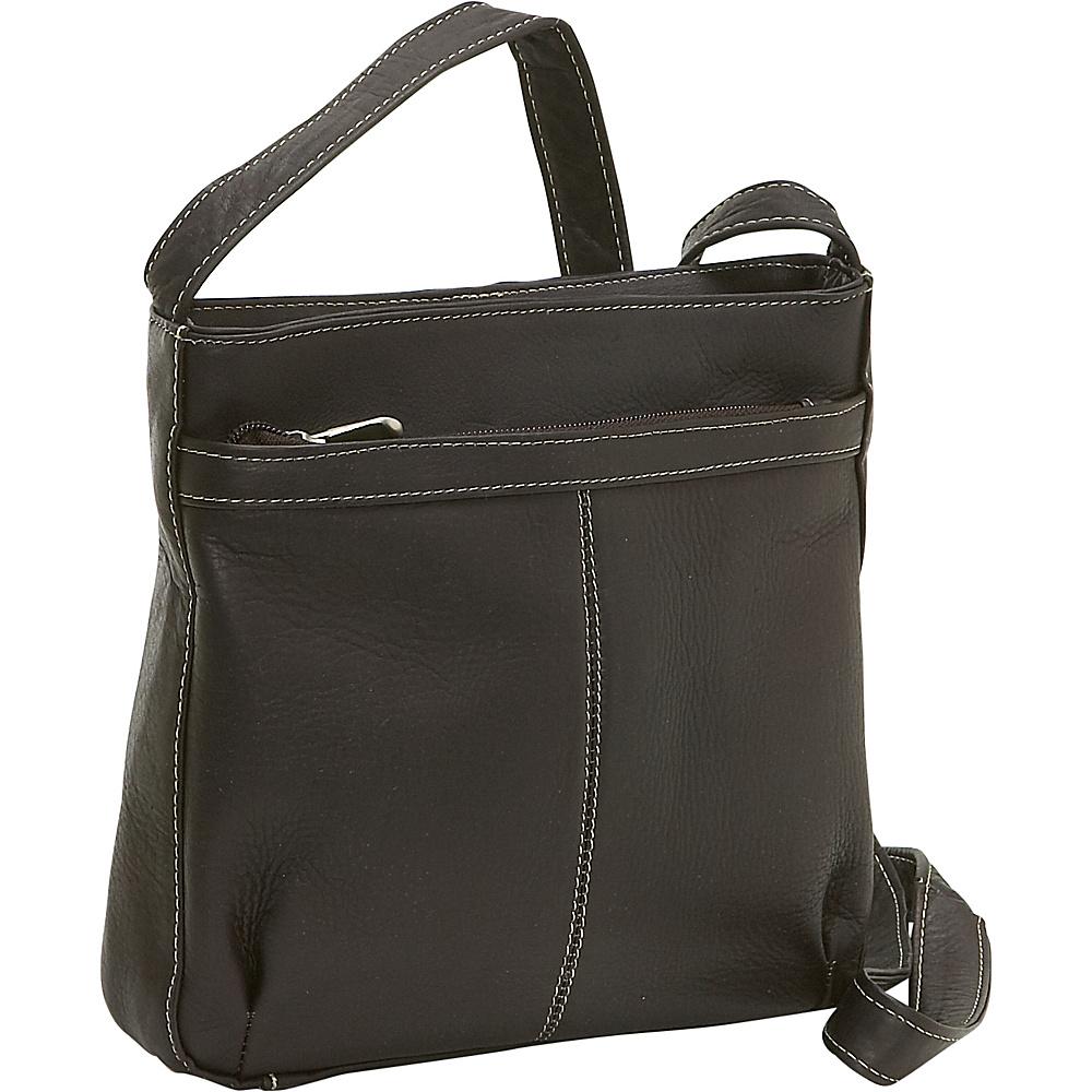 Le Donne Leather Shoulder Bag w/Exterior Zip Pocket - Handbags, Leather Handbags