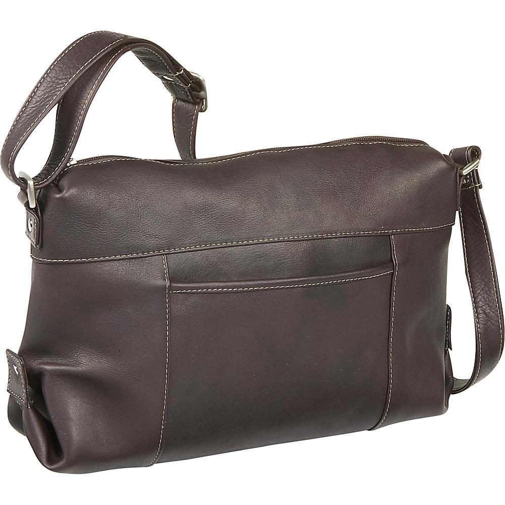 Le Donne Leather Top Zip Front Slip Shoulder Bag - Caf - Handbags, Leather Handbags