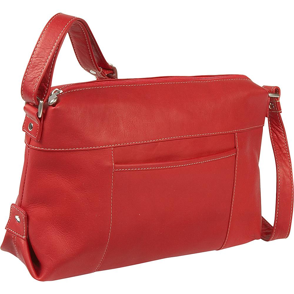 Le Donne Leather Top Zip Front Slip Shoulder Bag - Red - Handbags, Leather Handbags